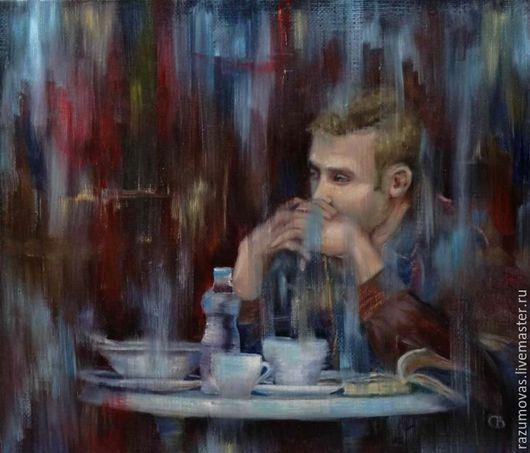 """Люди, ручной работы. Ярмарка Мастеров - ручная работа. Купить Картина маслом """"Мужчина в кафе"""" С. Разумова. Handmade. Парень"""