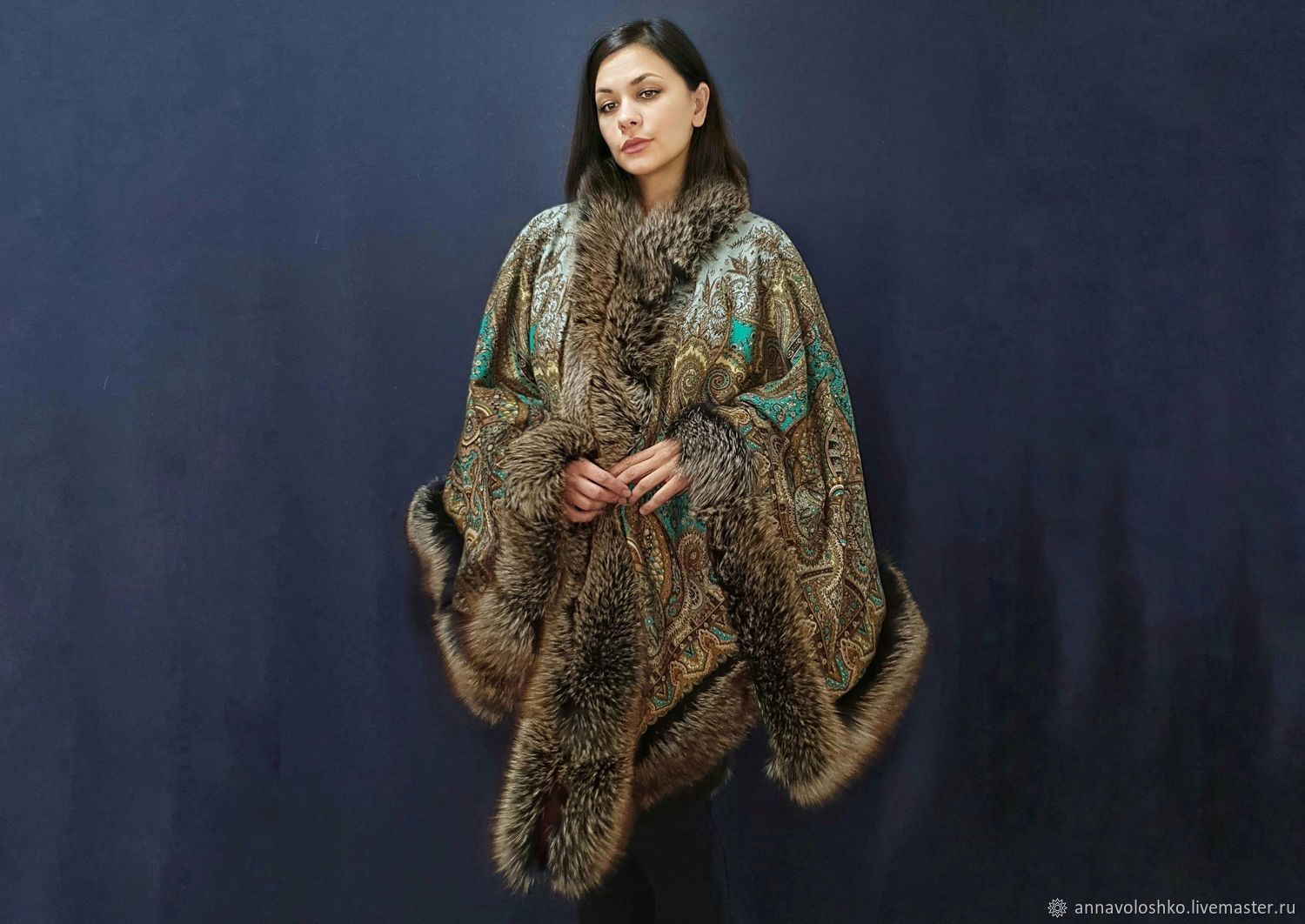Poncho 'Governor's' with fox-bluefrost, Ponchos, Moscow,  Фото №1