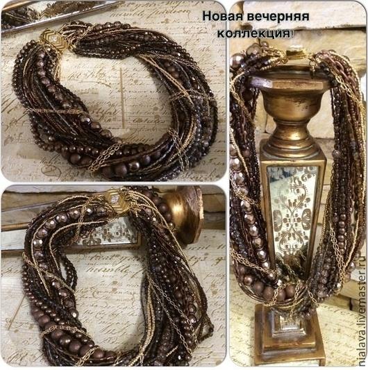 Роскошная модная красивая бижутерия на шею коричневого бронзового цвета Авторские украшения из натуральных камней колье ожерелье фото купить в интернете
