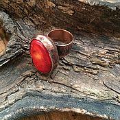 Украшения ручной работы. Ярмарка Мастеров - ручная работа Красная ЧАША  кольцо медное с кораллом, купить кольцо с кораллом. Handmade.