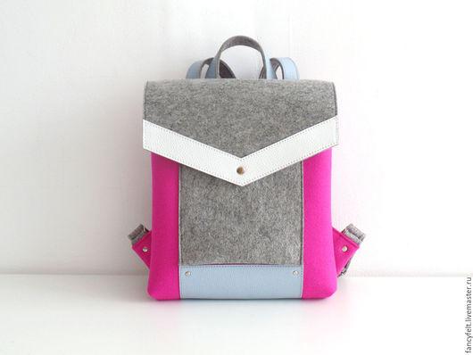 Рюкзаки ручной работы. Ярмарка Мастеров - ручная работа. Купить Розовый рюкзак из фетра и натуральной кожи. Handmade. Сумка из фетра