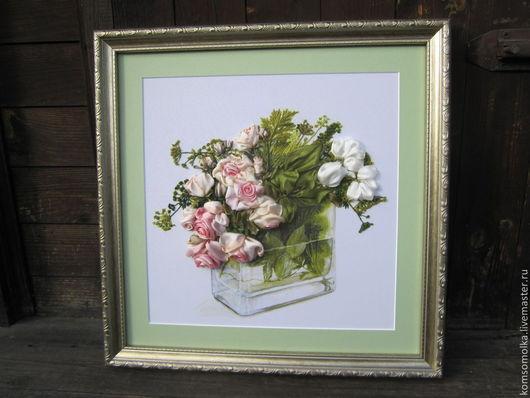 """Картины цветов ручной работы. Ярмарка Мастеров - ручная работа. Купить картина.вышитая лентами """"Розы для маркизы"""". Handmade. Розы"""