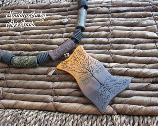 """Колье, бусы ручной работы. Ярмарка Мастеров - ручная работа. Купить Колье """"Древо жизни"""" (этно, Африка, оранжевый, коричневый, дерево). Handmade."""
