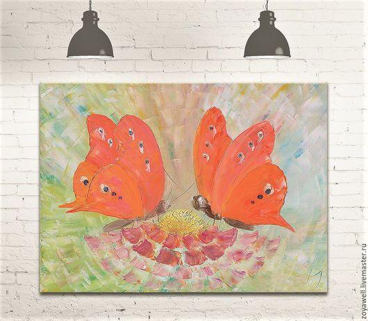 """Картины цветов ручной работы. Ярмарка Мастеров - ручная работа. Купить """"Радужное изобилие"""" - авторская картина маслом с бабочками. Handmade."""
