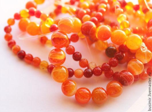 """Для украшений ручной работы. Ярмарка Мастеров - ручная работа. Купить Агат """"Апельсин"""" 4,6 мм. Handmade. Оранжевый"""