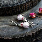 Украшения ручной работы. Ярмарка Мастеров - ручная работа Серьги с розовым жемчугом майорка  и стразами. Handmade.