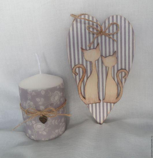 Подарки для влюбленных ручной работы. Ярмарка Мастеров - ручная работа. Купить Сердечко-тильдочка и свеча. Handmade. Сиреневый, день влюбленных