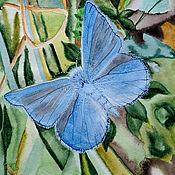 """Картины ручной работы. Ярмарка Мастеров - ручная работа Картина голубой зелёный, акварель.""""Бабочка голубянка Икар"""". Handmade."""
