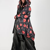 Одежда handmade. Livemaster - original item Long Loose Hooded Jacket-VE0067CTTF. Handmade.