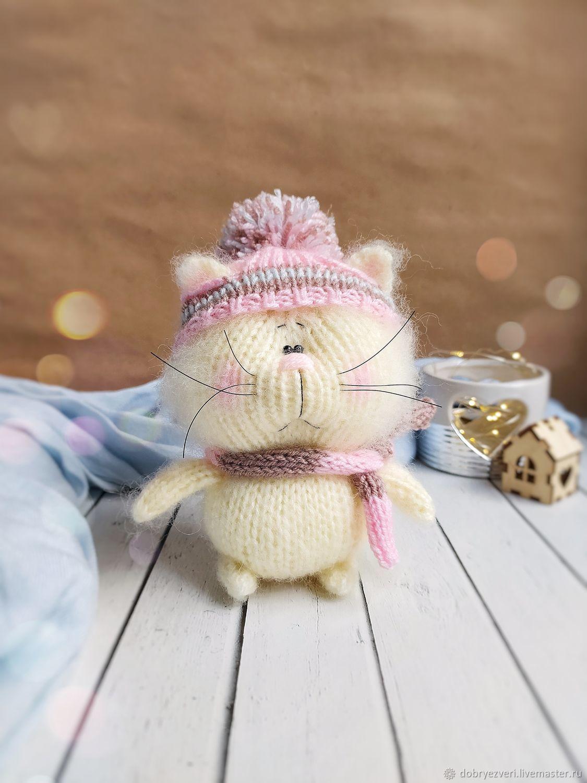 Вязаная игрушка кот, маленький котик, подарок ручной работы, Мягкие игрушки, Барнаул,  Фото №1