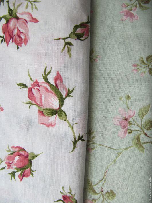 """Шитье ручной работы. Ярмарка Мастеров - ручная работа. Купить Отрезы тканей """"Розовый бутон и весенний цветок"""". Handmade. Белый"""