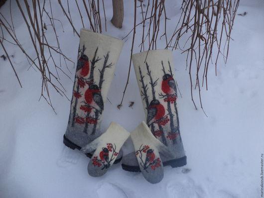 Обувь ручной работы. Ярмарка Мастеров - ручная работа. Купить валенки и варежки  женские  Снегири из мериносовой шерсти. Handmade. Снегирь