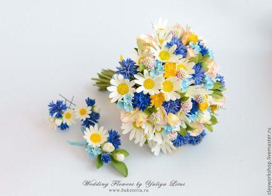Букеты ручной работы. Ярмарка Мастеров - ручная работа. Купить Букет невесты с цветами из полимерной глины. Handmade. Ромашки