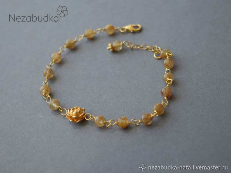 """Позолоченый браслет из кварца волосатика """"Golden lotus"""", Браслет из бусин, Москва,  Фото №1"""