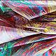 `Хвост павлина`- платок в технике эбру на шелке от мастера Эбру Анны Ивановой (Ann Iva). Рисунок выполнен на воде, а затем перенесен на натуральный шелк.