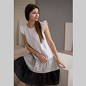Одежда handmade. Livemaster - original item Gradient linen dress with wings in white and gray color. Handmade.