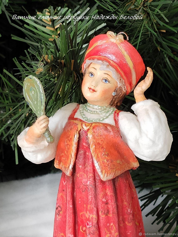 Cotton Christmas tree toy Beauty girl, Christmas decorations, Shahovskaya,  Фото №1
