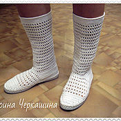 Обувь ручной работы handmade. Livemaster - original item Knitted shoes. Knitted boots
