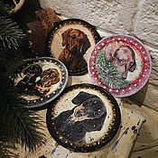 Подарки к праздникам handmade. Livemaster - original item Magnets with taks (the year of the Dog). Handmade.