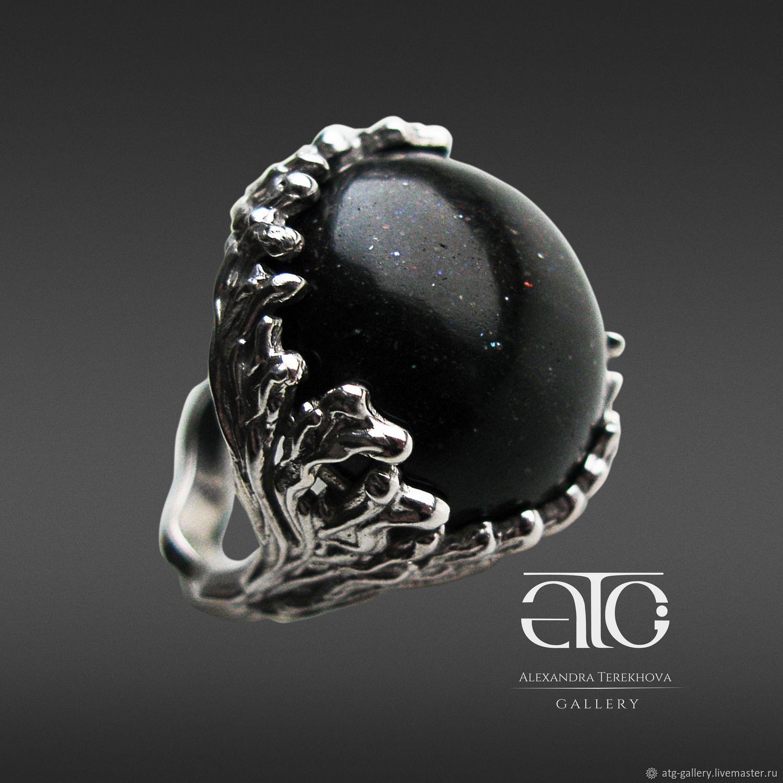 Сделаю на заказ. Роскошное кольцо с потрясающим австралийским черным опалом. c995f259814