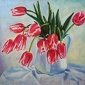 """Картины и панно ручной работы. Ярмарка Мастеров - ручная работа Картина маслом """"Розовые тюльпаны"""". Handmade."""