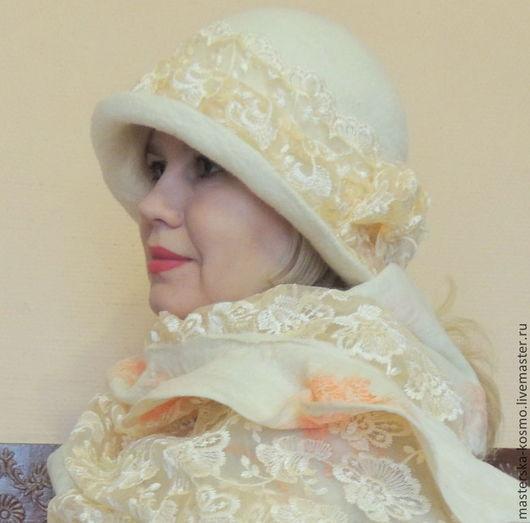 Шляпы ручной работы. Ярмарка Мастеров - ручная работа. Купить Валяная шляпка Нежная королева. Handmade. Белый, купить шляпку
