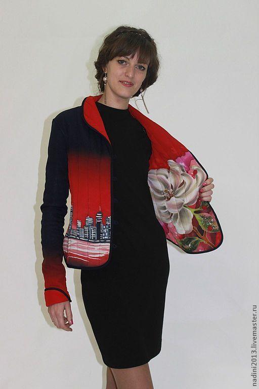 """Блузки ручной работы. Ярмарка Мастеров - ручная работа. Купить Авторский жакет с ручной росписью  """"Бруклин"""". Handmade. Батик"""