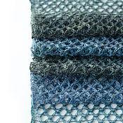 Аксессуары ручной работы. Ярмарка Мастеров - ручная работа Шарф ажурный шерстяной (сине-серый). Handmade.