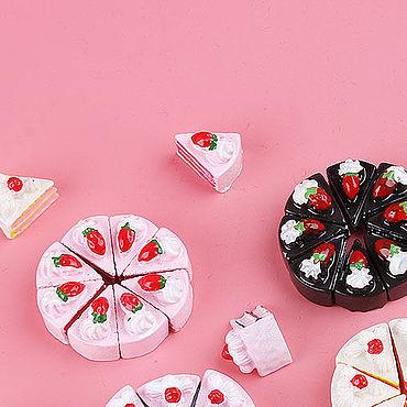 Материалы для творчества ручной работы. Ярмарка Мастеров - ручная работа Аксессуары: 2 цв. Торт, пирожное Миниатюра для кукол, игрушек. Handmade.