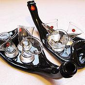 """Посуда ручной работы. Ярмарка Мастеров - ручная работа Комплекты """"Ладья-2"""" """"Пьяная бутылка и 3 пьяные рюмки"""". Разные.. Handmade."""
