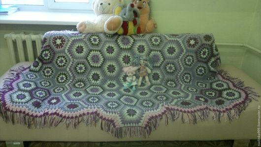 Текстиль, ковры ручной работы. Ярмарка Мастеров - ручная работа. Купить Плед крючком для оформления кабинета. Handmade. Комбинированный