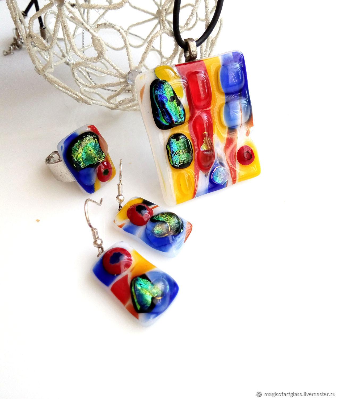 Glass jewelry set carnival night, fusing jewelry, Jewelry Sets, Khabarovsk,  Фото №1