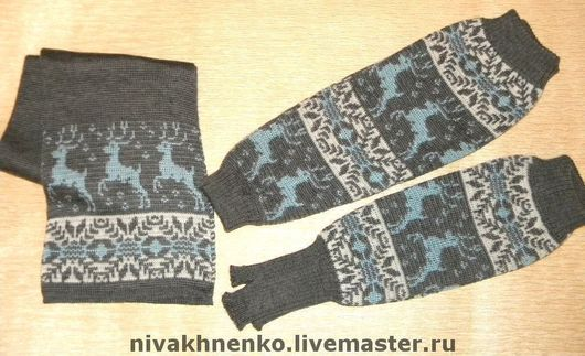 Sets of Items handmade. Livemaster - handmade. Buy Knitted leg warmers, mitts, scarf.Norwegian, Scarf pattern