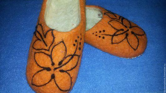 Обувь ручной работы. Ярмарка Мастеров - ручная работа. Купить Тапочки домашние. Handmade. Рыжий, шерсть 100%