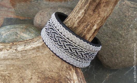 Широкий шведский (саамский) кожаный браслет из натуральной кожи оленя и скандинавской серебряной нити, изящное украшение в скандинавском стиле для девушки и женщины