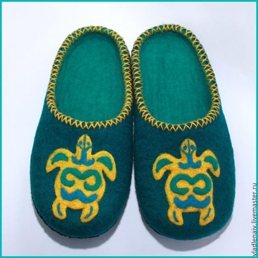 """Обувь ручной работы. Ярмарка Мастеров - ручная работа. Купить Тапочки """"Черепахи2"""". Handmade. Домашние тапочки, шерсть"""