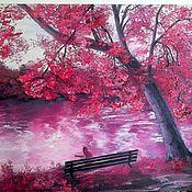 """Картины и панно handmade. Livemaster - original item Картина маслом яркий пейзаж 50/70 """"Розовая мечта"""". Handmade."""