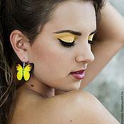 """Украшения ручной работы. Ярмарка Мастеров - ручная работа Серьги """"Желтые бабочки"""" тропическое солнце / Австралия. Handmade."""