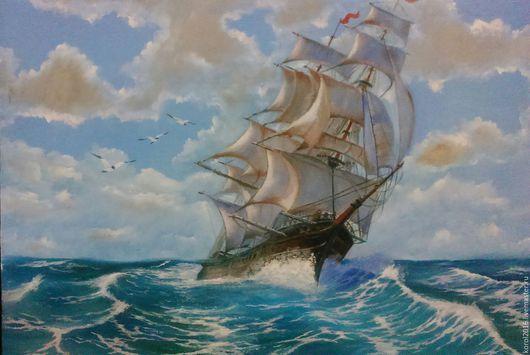Пейзаж ручной работы. Ярмарка Мастеров - ручная работа. Купить морской пейзаж. Handmade. Море, морской пейзаж, карабли