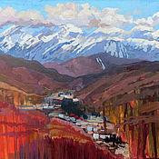 Картины и панно handmade. Livemaster - original item Oil painting. Landscape. Mountains. Krasnaya Polyana. Handmade.