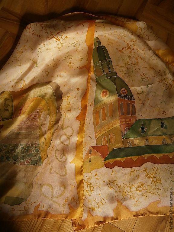 Shawl ,batik. The dome Cathedral in Riga, Shawls, Riga,  Фото №1