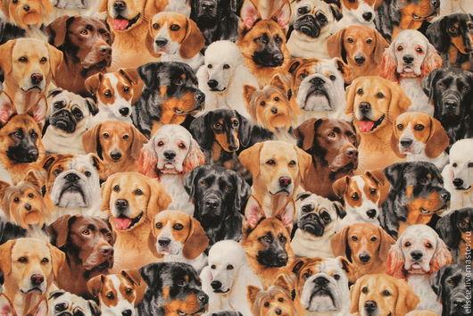 """Шитье ручной работы. Ярмарка Мастеров - ручная работа. Купить Ткань """"Собаки. Общий портрет"""" №9. Handmade. Ткани, собаки"""