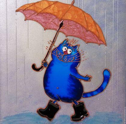 Животные ручной работы. Ярмарка Мастеров - ручная работа. Купить Кот с зонтом цвета апельсина. Синие коты Рины Зенюк. Картина.. Handmade.