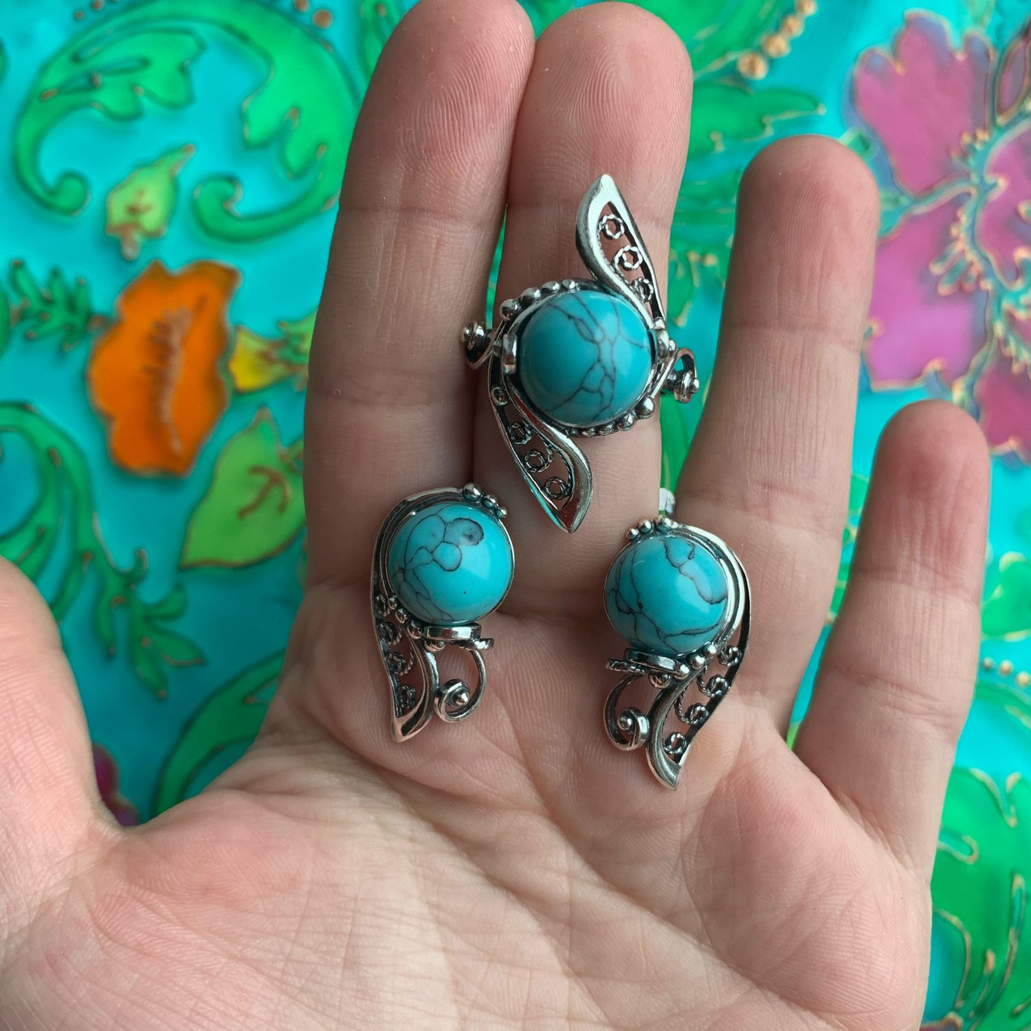 @Elegant earrings and a ring with turquoise or chrysoprase. RUSSIA, Jewelry Sets, Ivanovo,  Фото №1