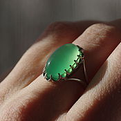Rings handmade. Livemaster - original item ring with chrysoprase