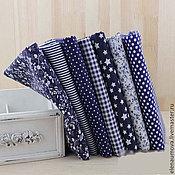 Материалы для творчества ручной работы. Ярмарка Мастеров - ручная работа Ткань хлопок набор синий. Handmade.