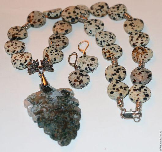 Колье № 1...51 см камни яшма Далматин-порфирит 1.8 см кулон  аквариумный кварц - лодолит 6 см.....