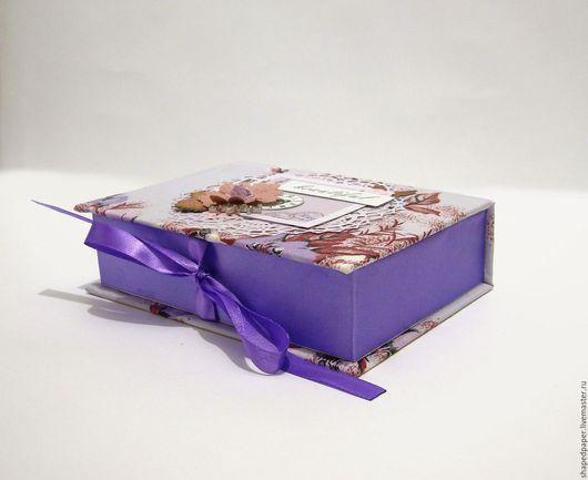 Фотоальбомы ручной работы. Ярмарка Мастеров - ручная работа. Купить Фотобокс, коробка для фото.. Handmade. Фиолетовый, коробочка для фото, ткань