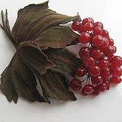 Украшения handmade. Livemaster - original item Leather flowers. Decoration brooch pin GUELDER-rose RED .. Handmade.