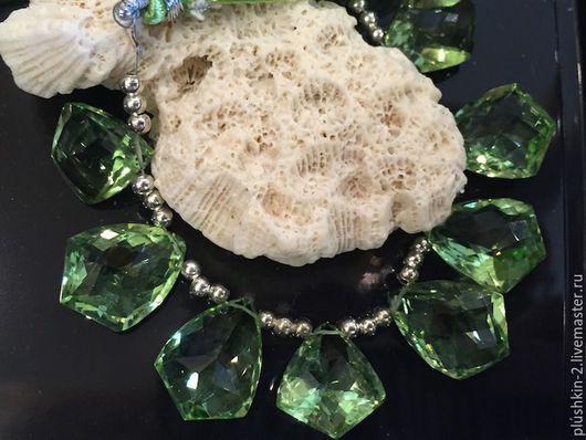 Для украшений ручной работы. Ярмарка Мастеров - ручная работа. Купить Аметисты зеленые (18 на14 мм). Handmade. Салатовый